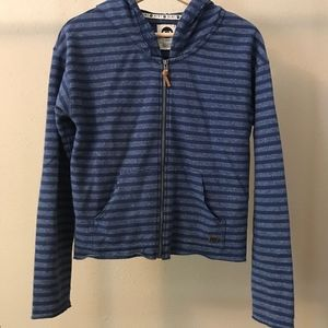 Roxy blue striped zip up sweatshirt